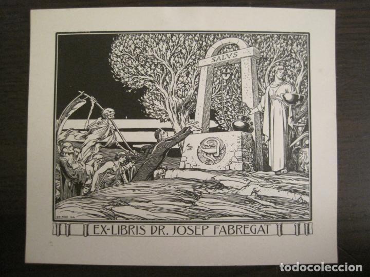 EX LIBRIS-DR JOSEP FABREGAT-TRIADO-LA MUERTE-VER FOTOS-(X-2812) (Arte - Ex Libris)