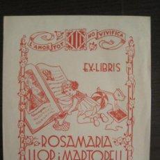 Arte: EX LIBRIS-ROSA MARIA LLOP I MARTORELL-MARIA FIGUEROLA-VER FOTOS-(X-2838). Lote 191836322