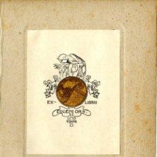 Arte: ALEXANDRE DE RIQUER. EX LIBRIS PARA EUGENI ORS, 1902. Lote 191966392