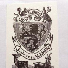 Art: EX-LIBRIS EXLIBRIS BOOKPLATE ORIOL MARIA DIVÍ, OPUS 89. HERÁLDICA LEÓN RAMPANTE ARDILLA LIEBRE CORZO. Lote 192777046