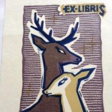 Art: EX-LIBRIS EXLIBRIS BOOKPLATE LEO G. BEKETOW, 1969. CIERVO CIERVA. Lote 192864077