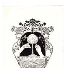 Art: EXLIBRIS EMILIO CANALS. SENS PERDUA DE LLUM. REALIZADO POR ALEXANDRE DE RIQUER. 1902. Lote 193235505