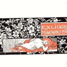 Art: EXLIBRIS MACARIO FAU. REALIZADO POR ALEXANDRE DE RIQUER, 1921. Lote 193240998