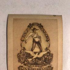 Art: EX - LIBRIS. PAX ET LABOR. AQVILINO RIEVSSET MEDIDAS: 8,5 X 7 CM.,. Lote 193754492