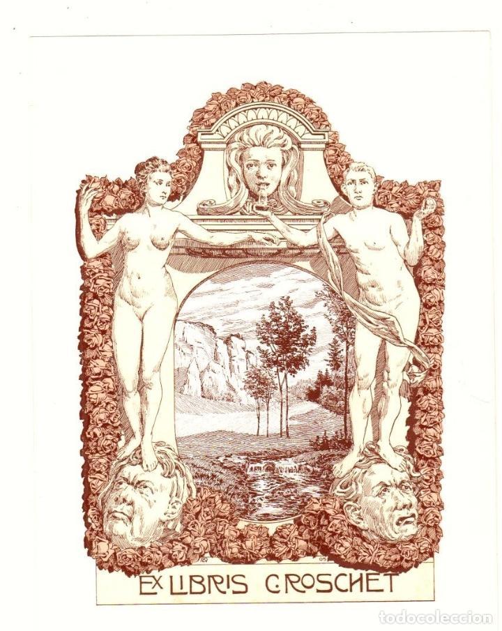 EXLIBRIS C. ROSCHET. BASEL, BASILEA, SUIZA. C. 1910 (Arte - Ex Libris)