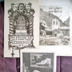 Arte: 3 EX-LIBRIS ANTIGUOS FORMATO GRANDE. Lote 194074300