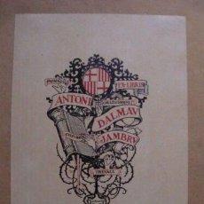 Arte: EX-LIBRIS EXLIBRIS J. RENART. BARCELONA LIBRO MANO ZARZA. Lote 194113290