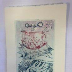 Arte: EX-LIBRIS EXLIBRIS BOOKPLATE JORIS MOMMEN, 1986. NIÑO PRENSA ENCUADERNACIÓN LUNA MANO YIN YANG. Lote 194113808
