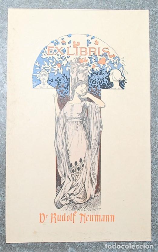 EXLIBRIS DE ALEXANDRE DE RIQUER PARA EL DR. RUDOLF NEUMANN 1903 (Arte - Ex Libris)