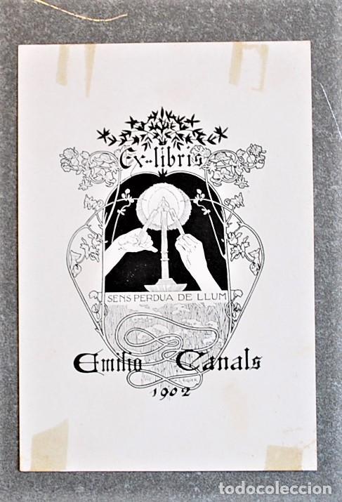 EXLIBRIS DE ALEXANDRE DE RIQUER PARA EMILIO CANALS. 1902 (Arte - Ex Libris)