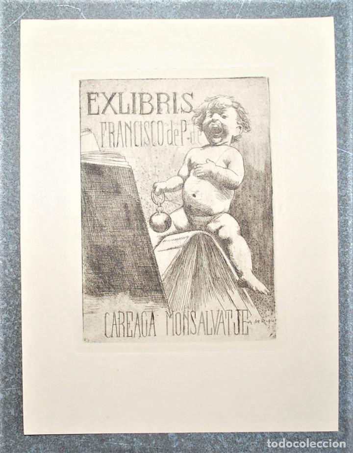 EXLIBRIS DE ALEXANDRE DE RIQUER PARA FRANCISCO DE P. DE CAREAGA MONSALVATJE (Arte - Ex Libris)