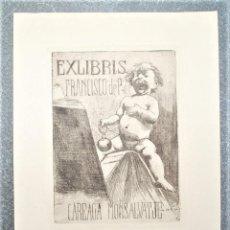 Arte: EXLIBRIS DE ALEXANDRE DE RIQUER PARA FRANCISCO DE P. DE CAREAGA MONSALVATJE. Lote 194601975