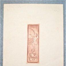 Arte: EXLIBRIS DE ALEXANDRE DE RIQUER 1903. Lote 194602208