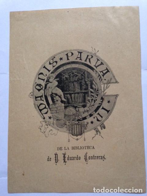 EX-LIBRIS EXLIBRIS PARA EDUARDO CONTRERAS. BIBLIOTECA HERÁLDICA (Arte - Ex Libris)
