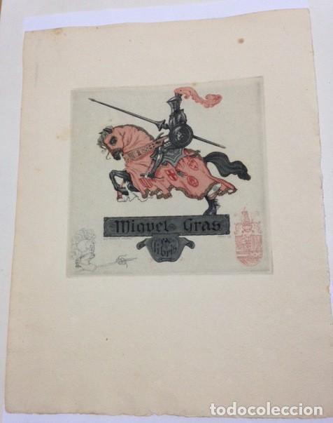 EX-LIBRIS EXLIBRIS LUIS GARCIA FALGAS, OPUS 55, 1921. CABALLO CABALLERO MEDIEVAL (Arte - Ex Libris)