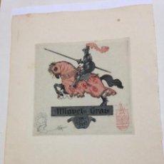 Arte: EX-LIBRIS EXLIBRIS LUIS GARCIA FALGAS, OPUS 55, 1921. CABALLO CABALLERO MEDIEVAL. Lote 194781001