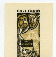 Arte: EX LIBRIS ORIGINAL DE LA ACTRIZ AVA GARDNER. FIRMADO POR PERELLÓN. Lote 195933308