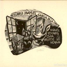 Art: EXLIBRIS - EX LIBRIS - PERE ORIOL DIVI Y COLL - APROX. 1950 - 115 X 100 MM - BOOKPLAT - FIRMADO. Lote 195990610