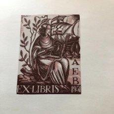 Arte: EXLIBRIS PREMIO EXPOSICION EX LIBRIS BARCELONA 1951 . Lote 198333870