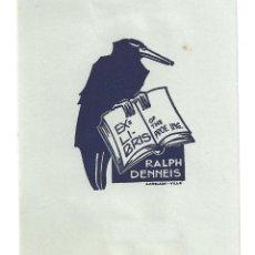 Arte: EX- LIBRIS.- ILUSTRADO POR J. ANGLADA VILLA PARA RALPH DENNEIS. Lote 198815550