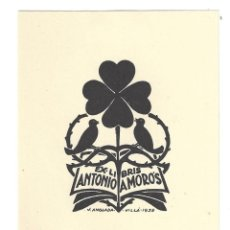 Arte: EX- LIBRIS.- ILUSTRADO POR J. ANGLADA VILLA PARA ANTONIO AMORÓS- 1939. Lote 198816406