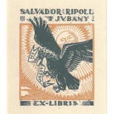 Arte: EX- LIBRIS.- ILUSTRADO POR BON PARA SALVADOR RIPOLL. J. V. BANY. Lote 198820582