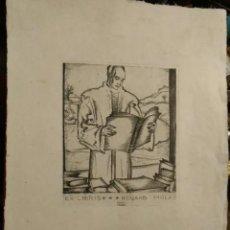 Arte: EX LIBRIS DE EDUARDO MOLAS AGUAFUERTE SEPO FRANK. AÑO 20. MEDIDAS 28 X 20 CM. Lote 201298141