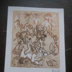 Arte: EX LIBRIS GRABADO CERVANTES QUIJOTE DE MARIANO CASAS HIERRO PARA EL CASAS EXLIBRIS. Lote 201354046