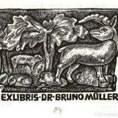 Art: ORIGINAL - EXLIBRIS EX-LIBRIS PADRE HERBERT OTT PARA DR. BRUNO MÜLLER - 105 X 85 MM. Lote 202252760
