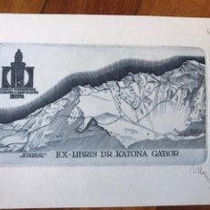 Arte: BELLO EXLIBRIS GRABADO DR. KATONA GABOR. FIRMADO. 15X11 CM. CONGRESO EXLIBRIS LUGANO 1978.. Lote 202930676