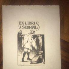 Arte: 1917 EXLIBRIS GRABADO V. SKORPIL. GRANDE. 23X15,50 CM.. Lote 203272373