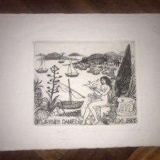 Arte: EXLIBRIS GRABADO DR. WERNER DANIEL. 13X20 CM.. Lote 203272886