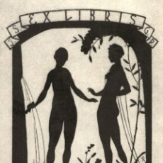 Art: ORIGINAL - EXLIBRIS EX-LIBRIS J.S. G.P. A THING OF BEAUTY IS A JOY FOR EVER 11 X 8 CMS. Lote 207218196