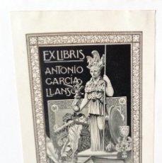 Arte: EXLIBRIS EX-LIBRIS PARA ANTONIO GARCÍA LLANSO. ATENEA COLECCIONISMO PERGAMINO CAPITEL ORFEBRERÍA. Lote 208121123