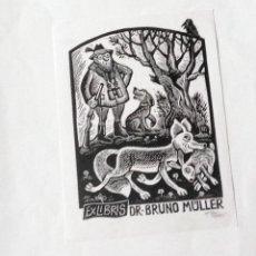 Arte: EXLIBRIS EX-LIBRIS WILLI RICHTER, 1990. CAZA CAZADOR PERRO CONEJO ZORRO. Lote 208122067