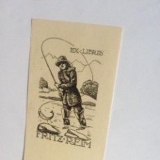 Arte: EXLIBRIS EX-LIBRIS PARA FRITZ REIM. PESCA PESCADOR TRUCHA. Lote 208209992