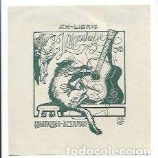 Arte: EX LIBRIS - J. MONSALVATJE - ILUSTRADOR LLORENÇ BRUNET - 9,6 X 9,7 CM.. Lote 208385598