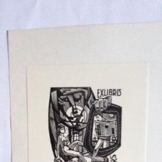 Arte: EXLIBRIS EX-LIBRIS JAN BATTERMANN, 1962. FIGURA FEMENINA DESNUDO LECTOR PERIÓDICO MOLINO DE VIENTO. Lote 208440212