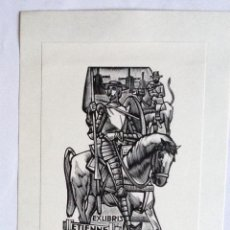 Arte: EXLIBRIS EX-LIBRIS JAN BATTERMANN. DON QUIJOTE SANCHO PANZA MOLINO DE VIENTO. Lote 208440282
