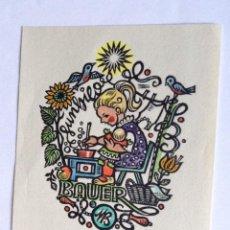 Arte: EXLIBRIS EX-LIBRIS MARIA BAUER-KLIMBACHER, 1954. NIÑA MUÑECA COCINA FLOR PÁJARO. Lote 208442805