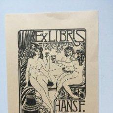 Art: EX-LIBRIS EXLIBRIS E. F. STROBEL-MATZA, 1986. DESNUDO FEMENINO UVAS VINO. Lote 215689371
