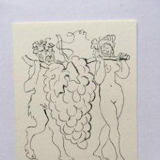 Art: EX-LIBRIS EXLIBRIS EMIL KOTRBA, 1966. DESNUDO FEMENINO SÁTIRO UVAS. Lote 215689493