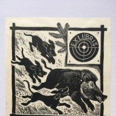 Art: EX-LIBRIS EXLIBRIS RICHTER, OPUS 145, 1975. CAZA JABALÍ PERRO DIANA. Lote 215689756