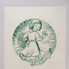 Art: EX-LIBRIS EXLIBRIS JOZE TRPIN, 1971. NIÑA FLORES. Lote 215689805