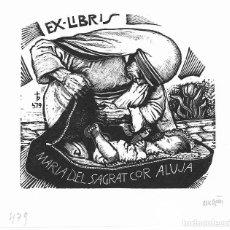Art: EX-LIBRIS DE ORIOL MARIA DIVI I COLL PARA MARIA DEL SAGRAT COR ALUJA – 1998 - (FIRMAT A LLAPIS). Lote 216701687