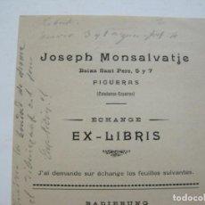Art: EX LIBRIS-FIGUERAS-JOSEPH MONSALVATJE-PUBLICACION ANTIGUA-VER FOTOS-(K-310). Lote 217382593