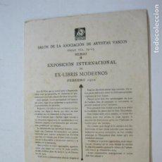 Art: EX LIBRIS-SALON ASOCIACION ARTISTAS VASCOS-EXPOSICION INTERNACIONAL 1920-VER FOTOS-(K-311). Lote 217382916