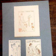Arte: LOTE DE 3 EXLIBRIS EROTICOS DEL DIBUJANTE CATALAN JOAN VILA PUJOL, D'IVORI. AÑOS 1913-1915-1919. Lote 217812606
