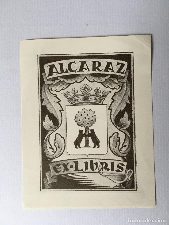 EX-LIBRIS EXLIBRIS PARA ALCARAZ. HERÁLDICA MANZANO OSO (Arte - Ex Libris)