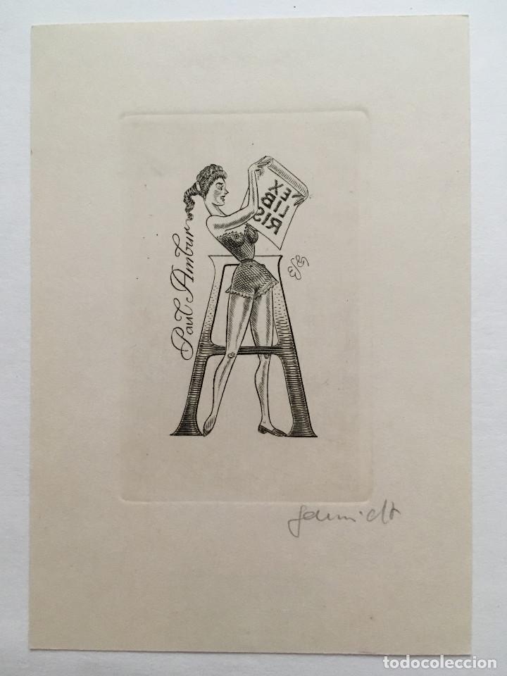 EX-LIBRIS EXLIBRIS EUGEN SCHMIDT. LETRA A MUCHACHA CORSE LIBRO (Arte - Ex Libris)